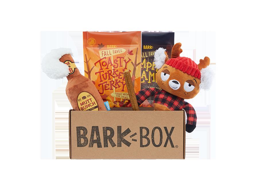 An Autumn Tail themed BarkBox
