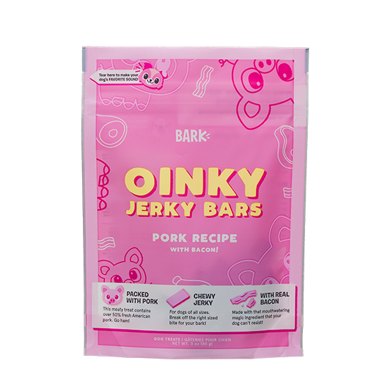 Photograph of BarkBox's Oinky Jerky Sticks product