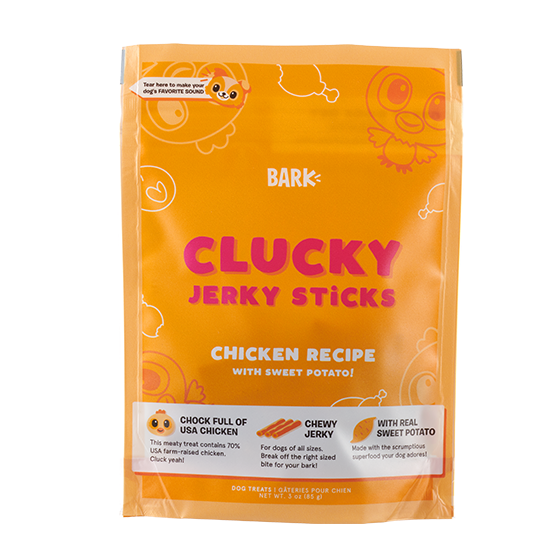 Photograph of BarkBox's Clucky Jerky Sticks product