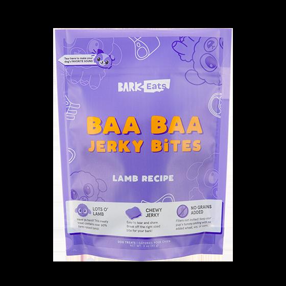 Photograph of BarkBox's Baa Baa Jerky Bites product