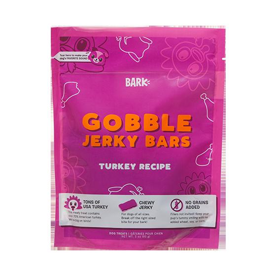 Photograph of BarkBox's Gobble Jerky Bars product