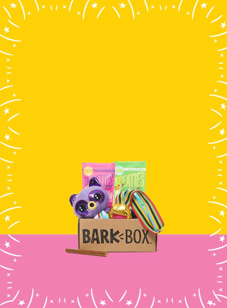 Photograph of Podium Pups themed BarkBox toys and treats