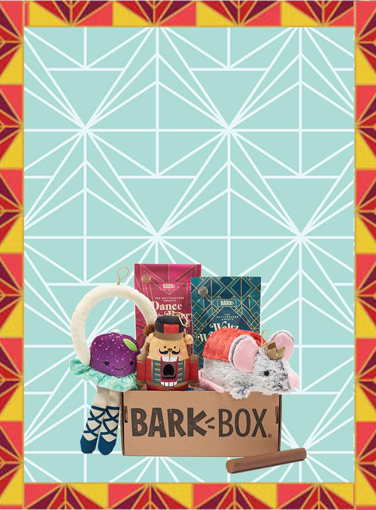 Photograph of The Muttcracker themed BarkBox toys and treats